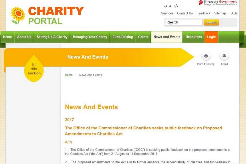 A screengrab of the Charity Portal website announcing the Charities Act's proposed changes and request for public feedback.