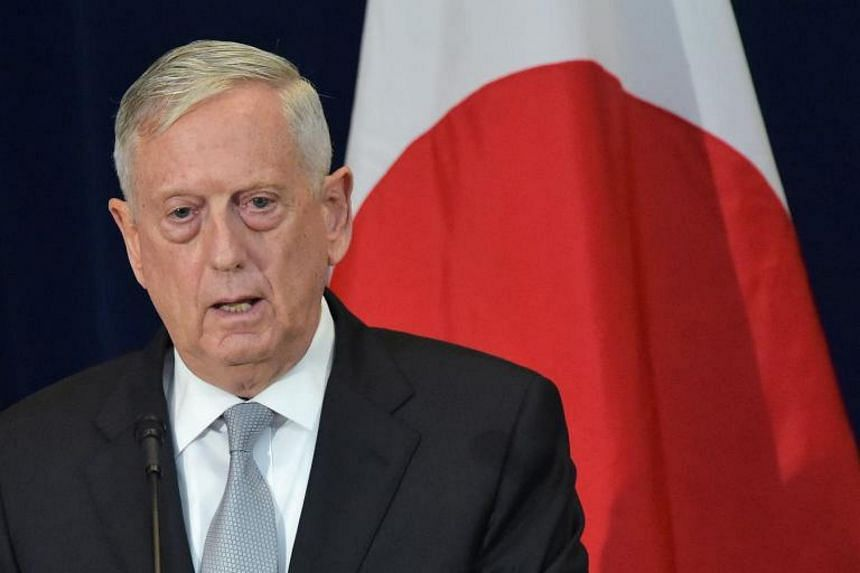 US Defense Secretary James Mattis takes part in a joint press conference with Japan's Foreign Minister Taro Kono and Defense Minister Itsunori Onodera at the State Department on Aug 17, 2017 in Washington, DC.