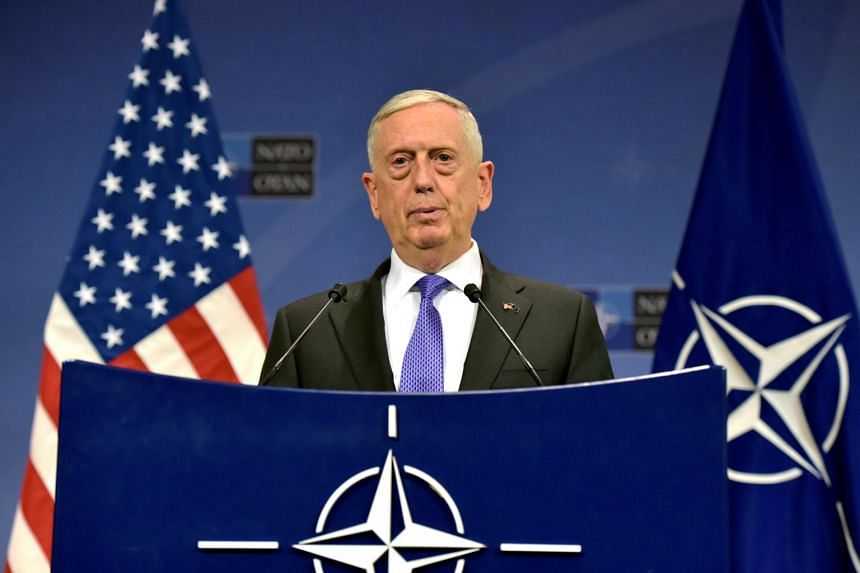 US Secretary of Defence Jim Mattis gives a news conference after a Nato defence ministers meeting at the Alliance headquarters in Brussels, Belgium on June 29, 2017.
