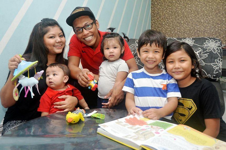 Azlinah Jumali and husband, Abdul Rahim Samion, with their children (from right) Nur Dini Farzana, Muhammad Raqib Faruqi, Nur Damia Rafyiqah and Muhammad Rafiq Alfaruqi, benefited from the KidStart scheme.