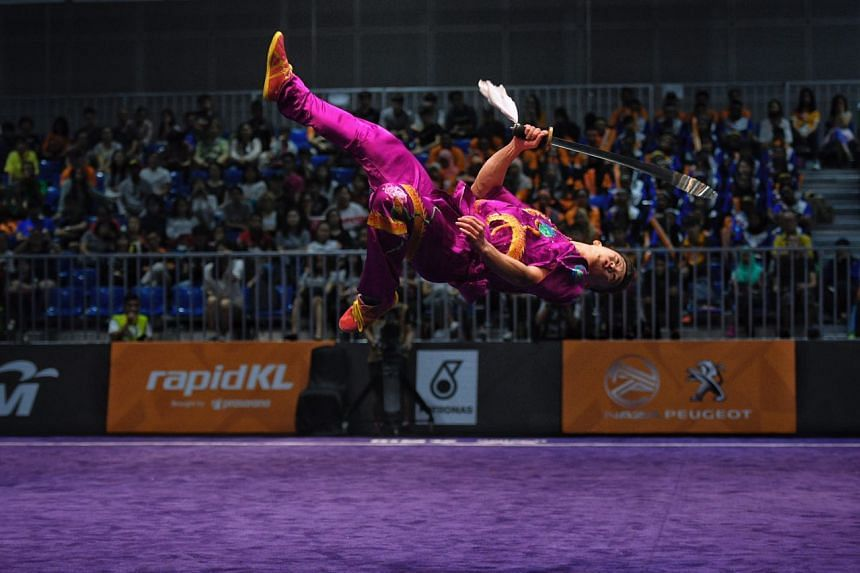 Wushu exponent Jowen Lim in action at the 2017 SEA Games in Kuala Lumpur.