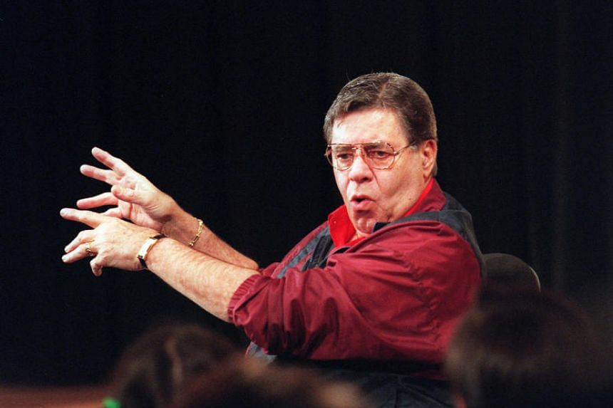 Jerry Lewis teachers a master class in comedy at the New School in New York ON March 2, 2001.