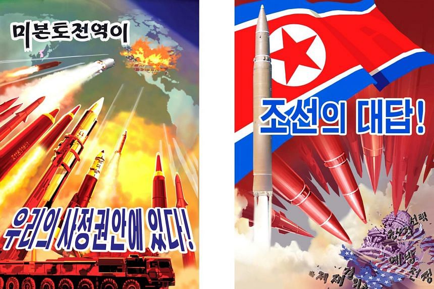 The recent unveiling of these posters and defiant slogans is a sign that tensions remain high between Pyongyang and Washington.
