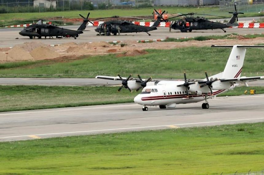 An EO-5C Airborne Reconnaissance Low (ARL) aircraft taking off at the US Camp Humphreys base during the Ulchi Freedom Guardian exercise against North Korean provocations, a South Korea-US joint command-post drill in Pyeongtaek, southwest of Seoul, So