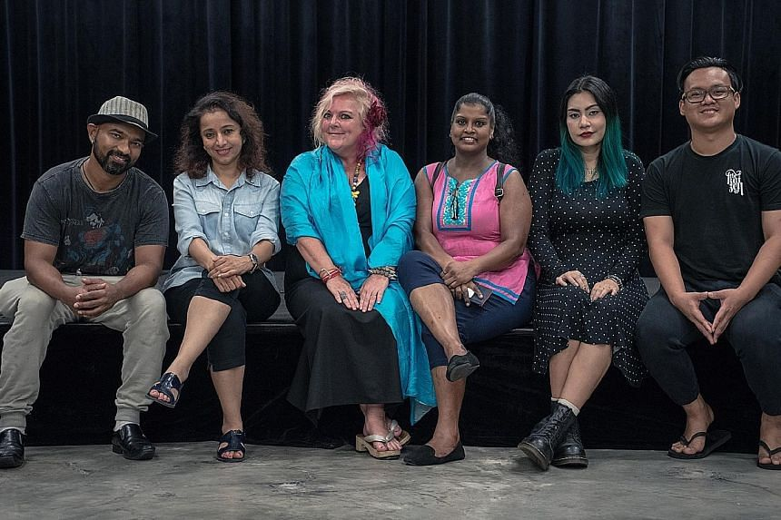 (From far left) Krishna Gnanpathy, Shalaka Ranadive, Susie Penrice Tyrie, Grace Kalaiselvi, Dew M. Chaiyanara and Khairulnizam will direct short plays in Tamil for Pathey Nimidam.