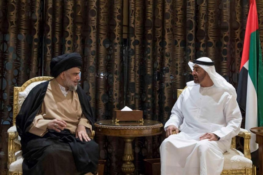Abu Dhabi Crown Prince Sheikh Mohammed bin Zayed al-Nahayan meets with Iraqi Shi'ite leader Moqtada al-Sadr in Abu Dhabi on Aug 13, 2017.