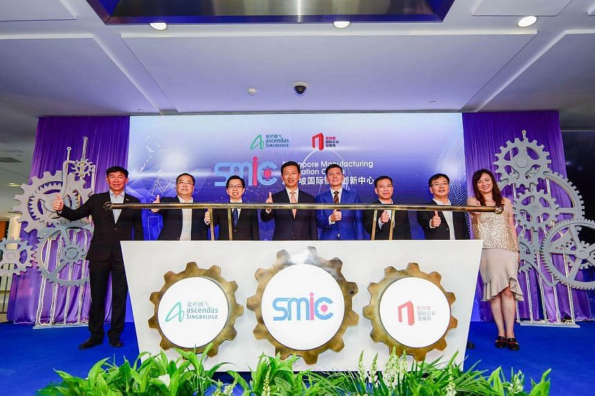 Minister Ong Ye Kung (centre) gracing the opening ceremony of Singapore Manufacturing Innovation Centre (SMIC), a joint initiative by IE Singapore and Ascendas-Singbridge.