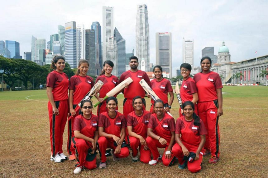 Singapore women's SEA Games cricket team in training at Singapore Recreation Club on Aug 15, 2017.