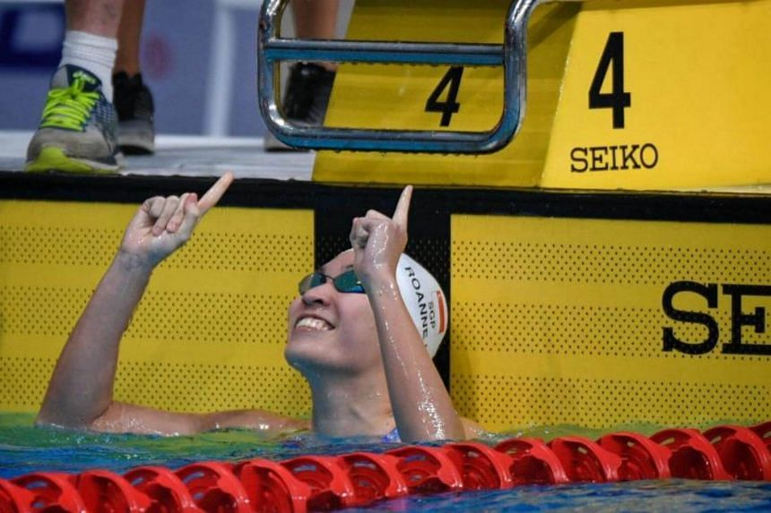 Roanne Ho of Singapore gestures after winning the SEA Games women's 50m breastroke held on Aug 22, 2017.