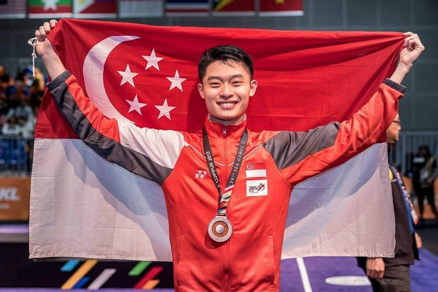 Singapore wushu exponent Samuel Tan (pictured) finished with a score of 9.52 behind Malaysia's Loh Jack Chang (9.66) and ahead of Myanmar's Khant Min Htet (9.36).
