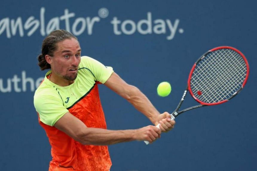 Alexandr Dolgopolov of Ukraine returns a shot to Nick Kyrgios of Australia during Day 5 of the Western & Southern Open at the Linder Family Tennis Center in Mason, Ohio on Aug 16, 2017.