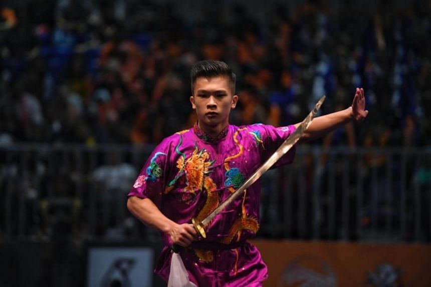 Singaporean Jowen Lim in action during his first-place routine during the SEA Games men's daoshu event on Aug 21, 2017.