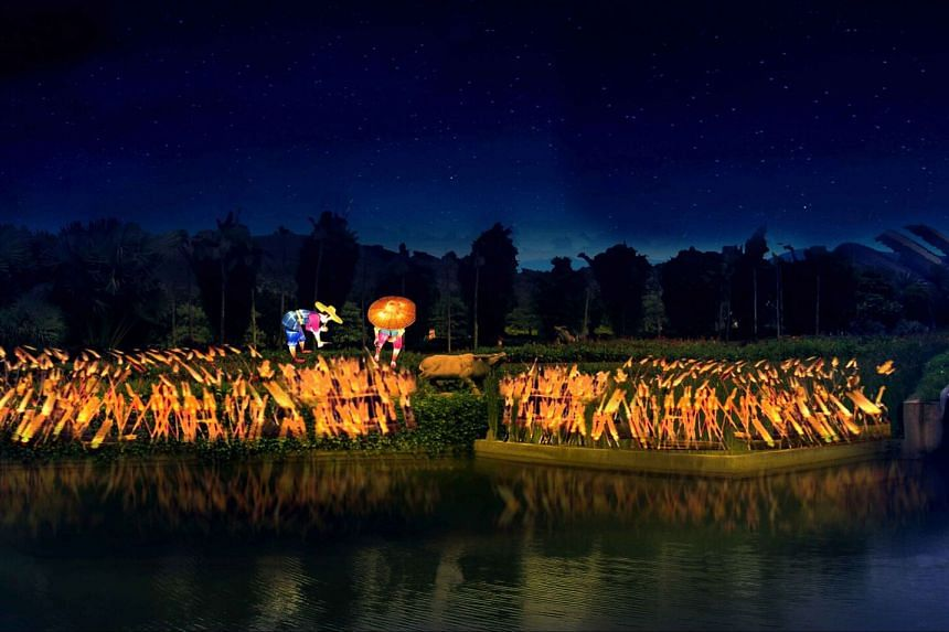 The area near Dragonfly Lake is transformed into a paddy field illuminated with around 4,000 glowing rice stalks.
