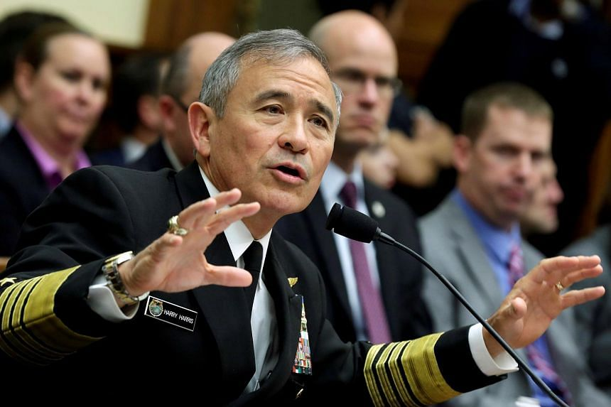 The Commander of the US Pacific Command, Admiral Harry Harris, testifies before a House Armed Services Committee hearing Capitol Hill in Washington, U.S, April 26, 2017.