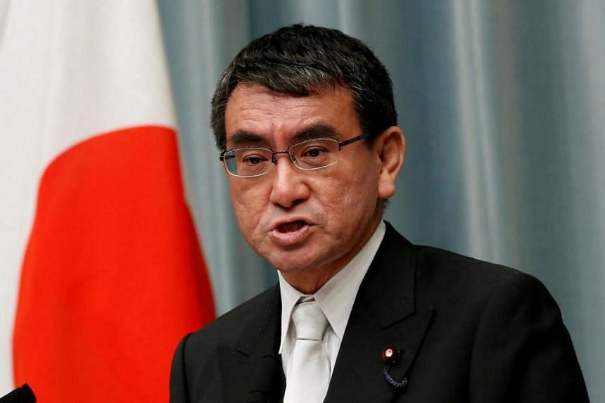 Japan's Foreign Minister Taro Kono speaks at a news conference in Tokyo, Japan on Aug 3, 2017.