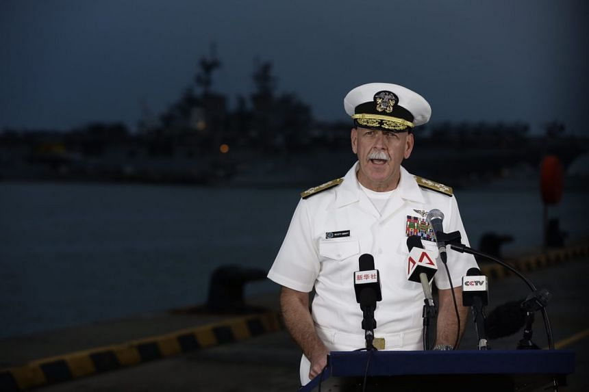 US Navy Pacific Fleet Commander Admiral Scott Swift speaking to the media at Changi Naval Base on Aug 22, 2017.
