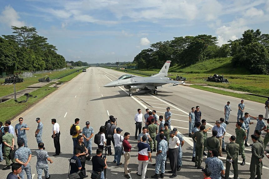 Fighter planes barrelling down Lim Chu Kang Road in the Republic of Singapore Air Force's Exercise Torrent in November 2016.