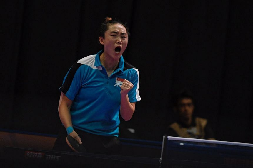 Feng Tianwei reacting after scoring a point against compatriot Zhou Yihan during the women's singles table tennis final, on Aug 22, 2017.
