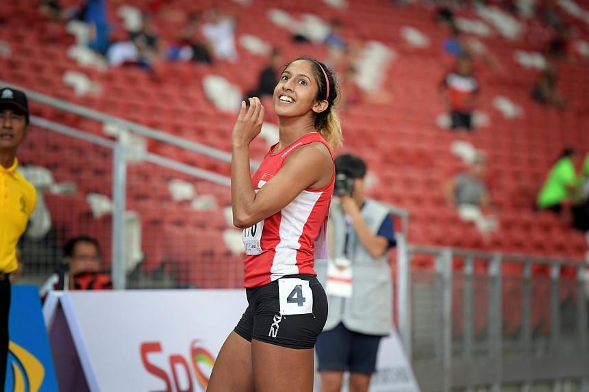 Shanti Pereira at the Singapore Open Track and Field Championships on April 28, 2017. The sprinter set a new national record at the SEA Games on Aug 22, 2017.