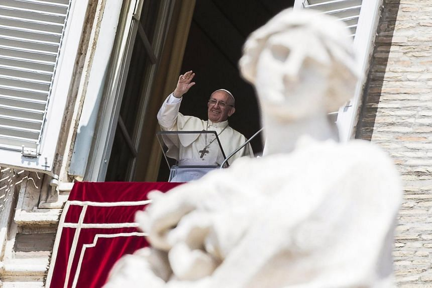 Pope Francis leads Angelus, traditional Sunday's prayer, in St. Peter's Square, Vatican City.