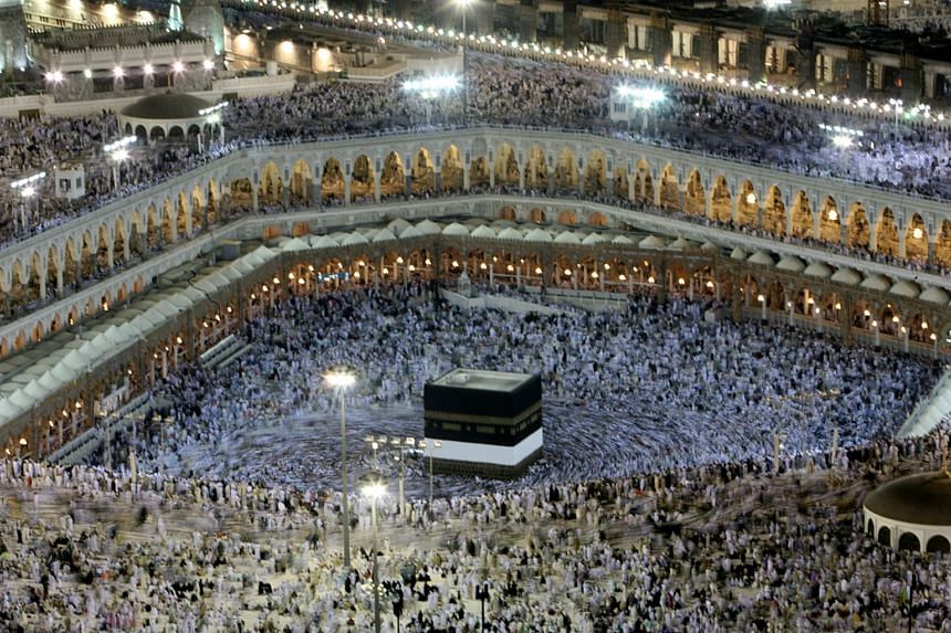 Muslims circle the Kaaba inside the Grand Mosque in Mecca.