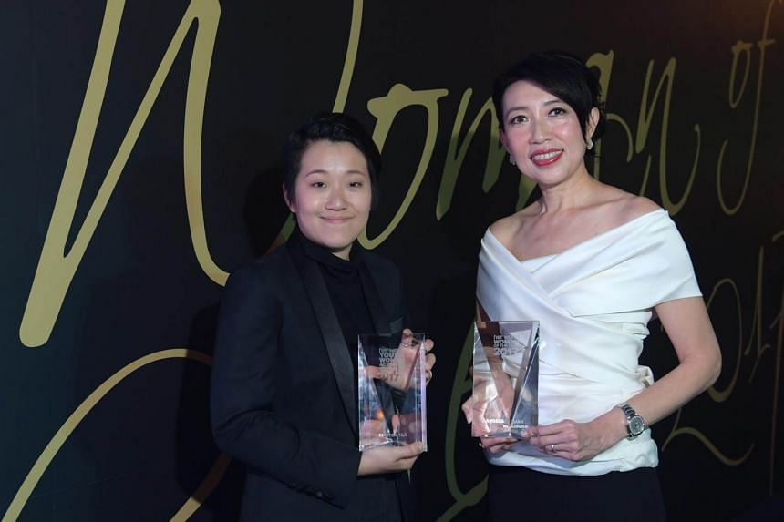 Her World Woman of the Year 2017, Chief Executive Officer of DP Architects, Ms Angelene Chan (right) and Her World Young Woman Achiever 2017, filmmaker Kirsten Tan.