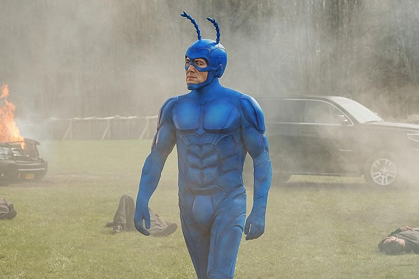 English actor Peter Serafinowicz as The Tick, whose antennae move and quiver in sync with the character's moods.