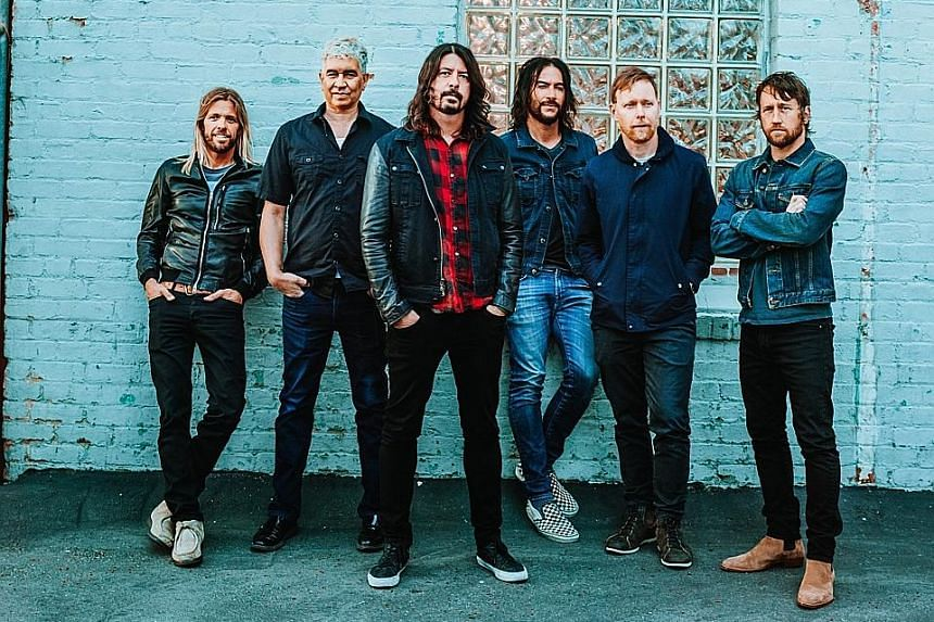Foo Fighters comprise (from left) Taylor Hawkins, Pat Smear, Dave Grohl, Rami Jaffee, Nate Mendel and Chris Shiflett.