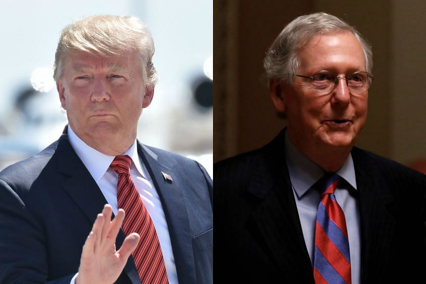 The relationship between US President Donald Trump (left) and Senator Mitch McConnell, the majority leader, has disintegrated to the point that they have not spoken to each other in weeks.