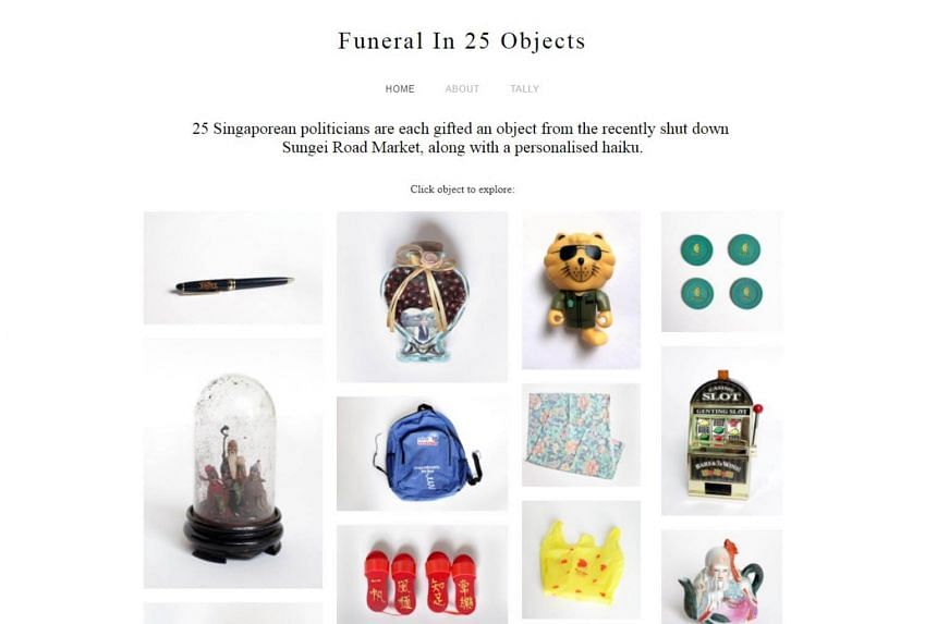 The online project, Funeral In 25 Objects, pairs the items bought from the Sungei Road flea market. with poetry in a farewell to the market.