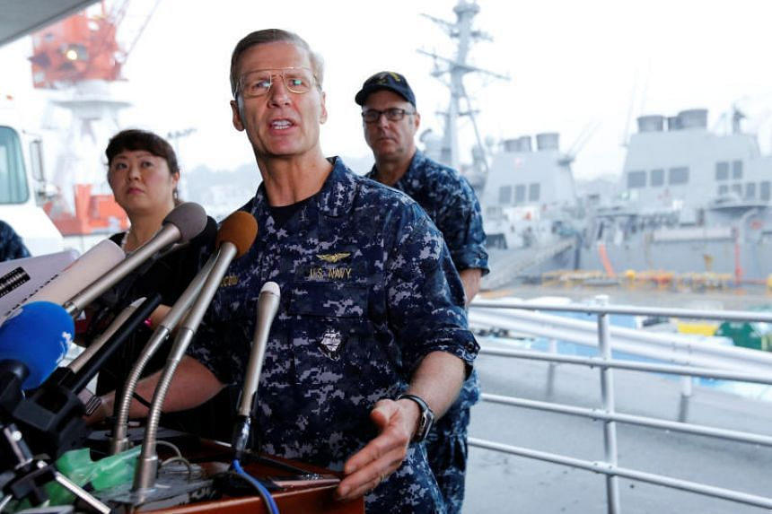 Vice-Admiral Joseph Aucoin delivering a speech during a press conference at the US Navy's Yokosuka base on June 18, 2017.
