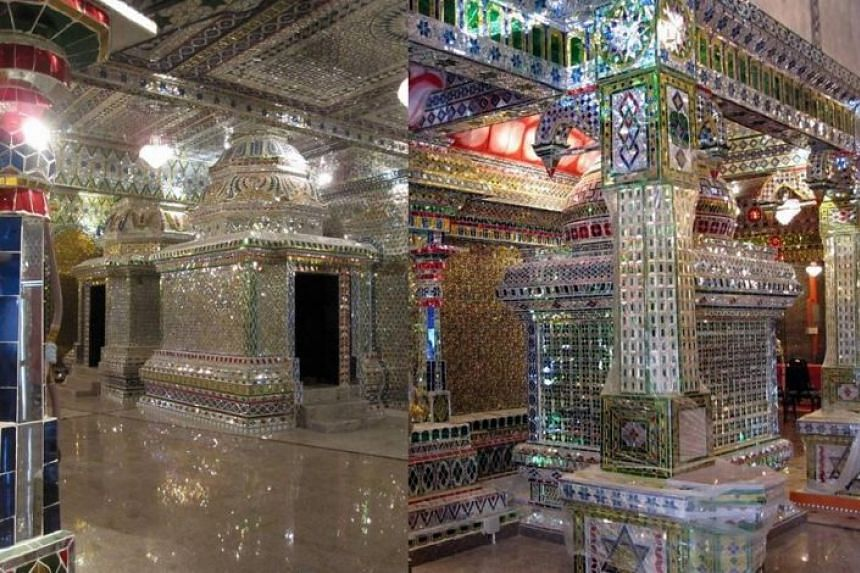 Two pictures of the Arulmigu Sri Rajakaliamman Temple in Johor Baru, the only glass temple in Malaysia.