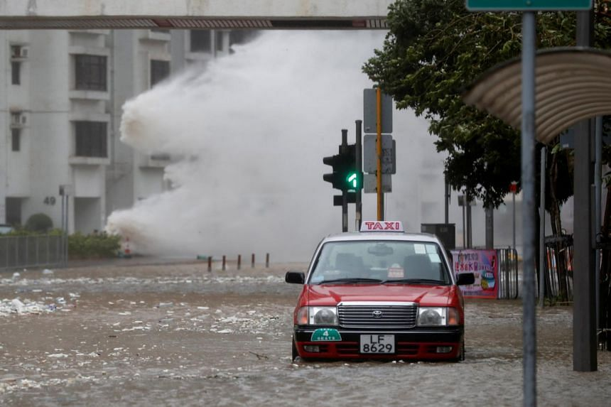 Waves triggered by Typhoon Hato are seen in Hong Kong, China on Aug 23, 2017.