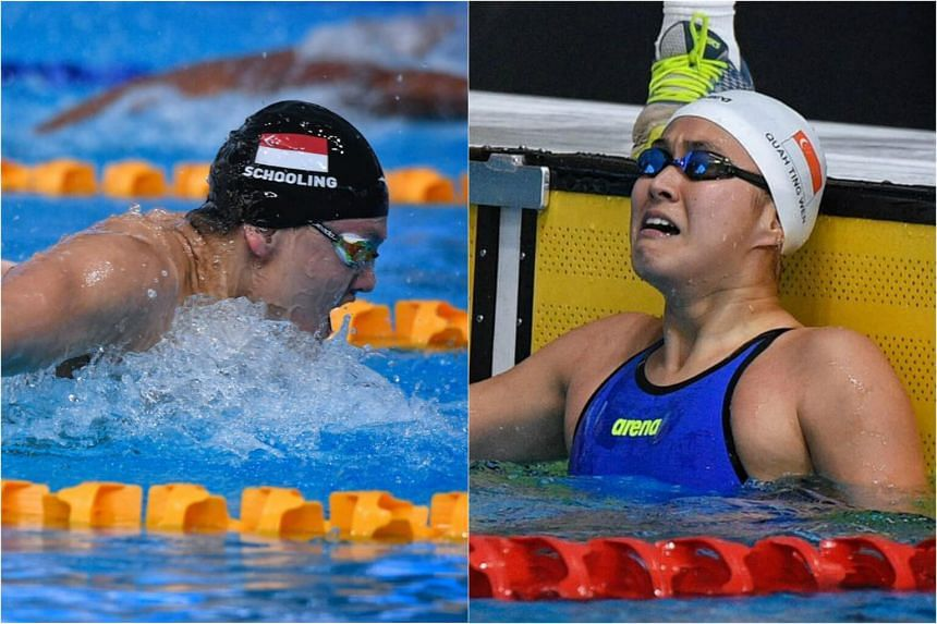 Olympic champion Joseph Schooling (left) and Quah Ting Wen both broke their own SEA Games records on Wednesday, Aug 23, 2017.