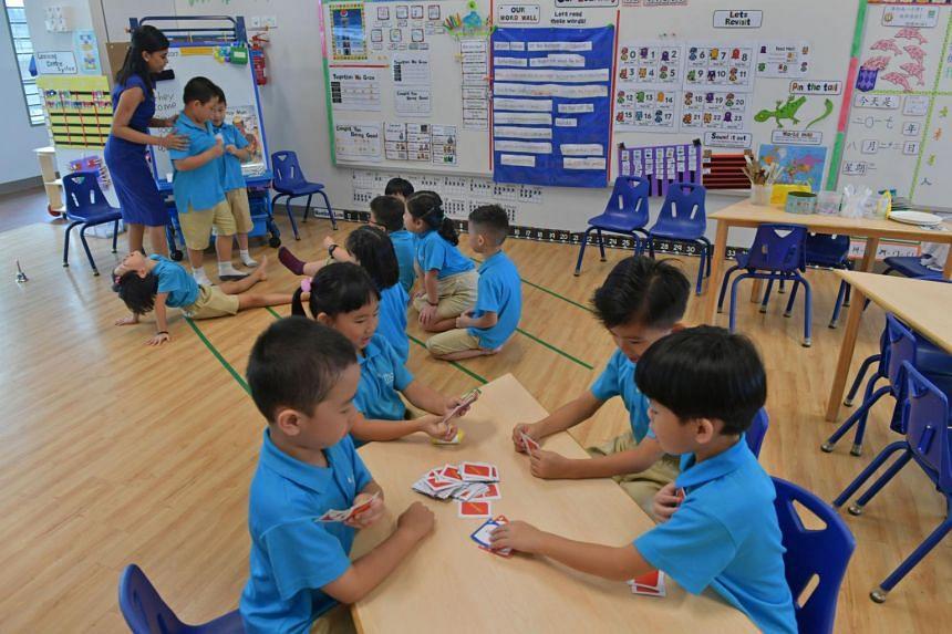 A class being conducted at the MOE run MK@Punggol Green kindergarten.