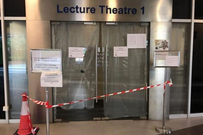 NTU has closed Lecture Theatre 1 for at least a month to repair the collapsed ceiling.