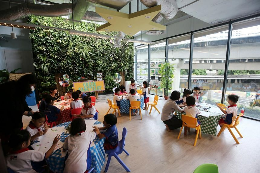 A class being conducted at PCF Sparkletots Centre at Hillion Mall in Bukit Panjang.