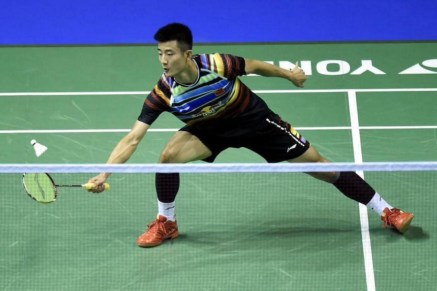 China's Chen Long returns against Indonesia's Sony Dwi Kuncoro during their round two men's singles match during the 2017 BWF World Championships of badminton at Emirates Arena in Glasgow on Aug 23, 2017.