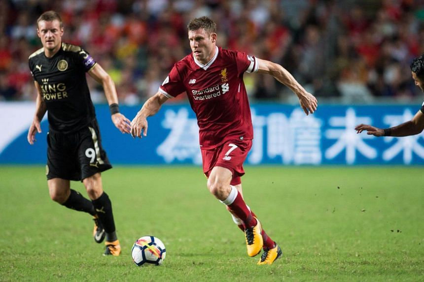 Liverpool's James Milner controlling the ball against Leicester City during their Asia Trophy football match in Hong Kong on July 22, 2017.