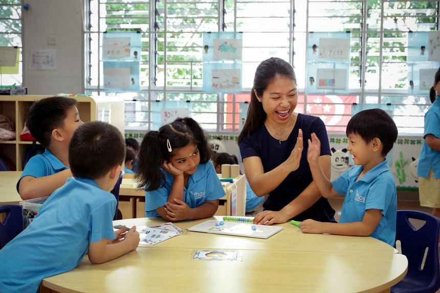 Ms Marie Luo, who works at the Ministry of Education (MOE) Kindergarten in Punggol View, was trained under the fully sponsored Kindergarten Teacher Training Programme.