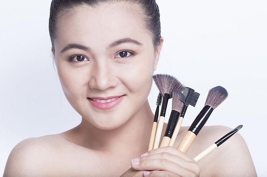 Make-up brushes that come in contact with oil- or cream-based products such as foundation should be washed once a week.