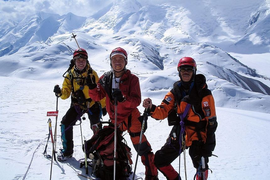 From far left: Mountaineers Shani Tan, David Lim and Wilfred Tok first ascended the mountain, which is located in south-eastern Kazakhstan, on July 29, 2005, along with mountaineer Muhammad Rozani Maarof. They named it after Mr Ong Teng Cheong, who w
