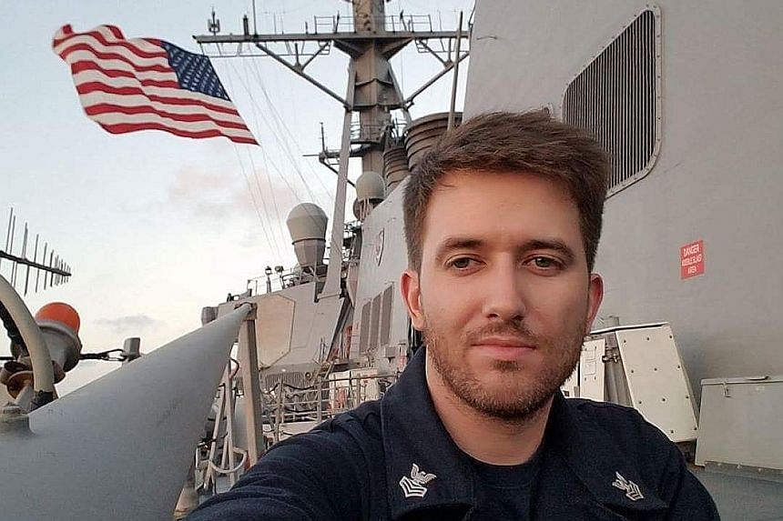Mr Chris Eaton (from left) is friends with Mr Corey Ingram and Mr Charles Findley, two of the 10 sailors said to be missing after the USS John S. McCain collided with an oil tanker on Monday.