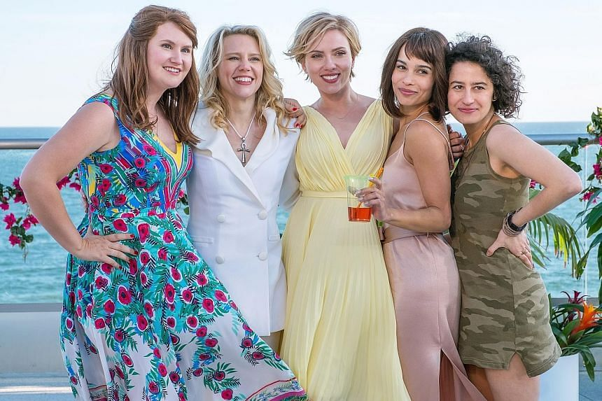 Scarlett Johansson (centre) is a bride-to-be who goes on a wild hen night with her friends (from left, Jillian Bell, Kate McKinnon, Zoe Kravitz and Ilana Glazer).