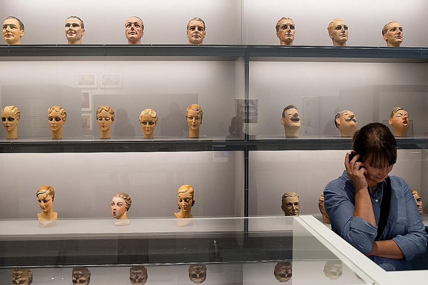 An artwork at The Face, A Search For Clues exhibition at the German Hygiene Museum in Dresden. The exhibition looks at how faces - from glossy celebrity portraits to online selfies to paintings - influence people's impressions of self-image and how p