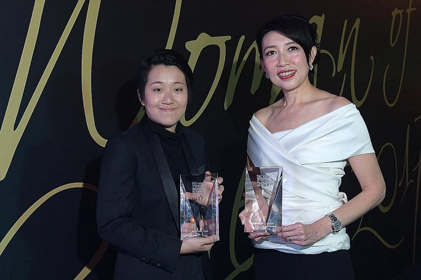 Ms Angelene Chan (right), the first woman chief executive among the top five architecture firms in Singapore, was named Woman of the Year by Her World magazine yesterday. Film-maker Kirsten Tan, who won an award at the Sundance Film Festival, was nam