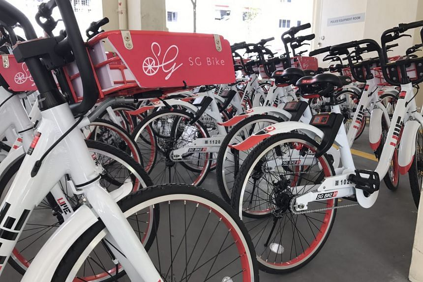 SG Bike bicycles at a parking space in Bukit Panjang. The new bicycle sharing service is limited to Holland-Bukit Panjang Town Council, for now.