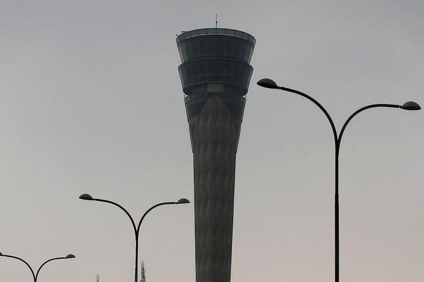 An air traffic control tower is pictured at the Indira Gandhi International Airport in New Delhi.