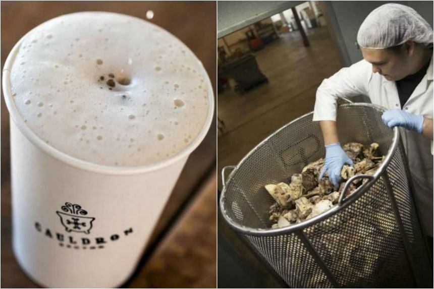 (Left) A cup of Froth Broth from the Cauldron Broths at the farmers market in Bellingham. (Right) A Cauldron Broths employee checking out 455kg of seared beef bones, which are to be used for a single batch of the company's beef broth.