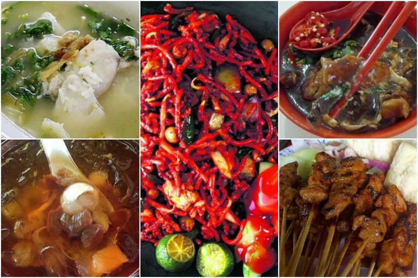 Highlights of the ST Hawker Masters Hopping Trail include Piao Ji Fish Porridge at Amoy Street Food Centre (top left), Yuan Chun Famous Lor Mee at Amoy Street Food Centre (top right), Haron Satay at East Coast Lagoon Food Village (bottom right), Ye L